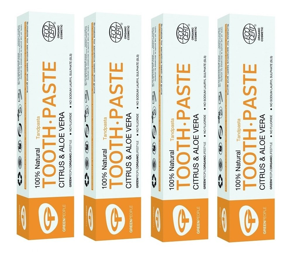 Green People Citrus and Aloe Vera Natural Toothpaste 50ml (Pack of 4)