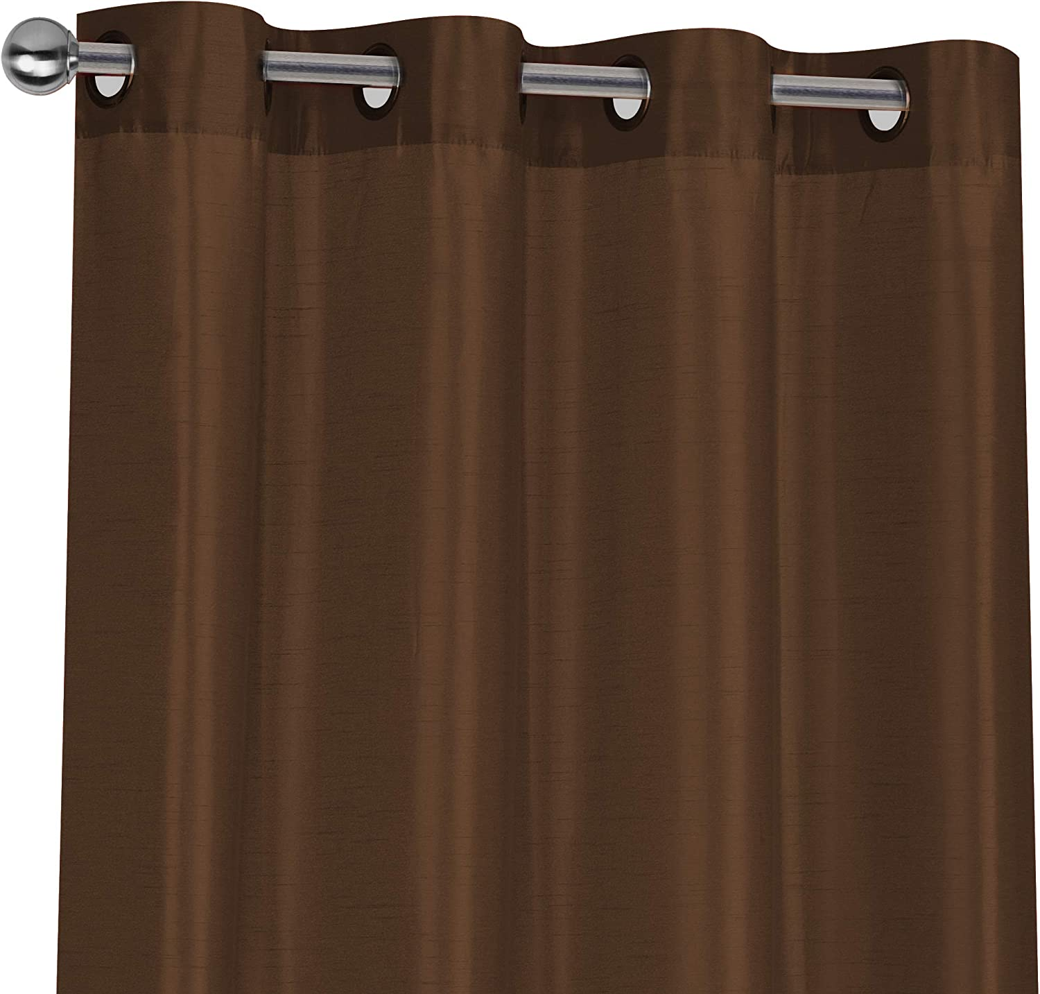 Regal Home Collections 2 Pack Semi Sheer Faux Silk Grommet Curtains - Assorted Colors (Brown)
