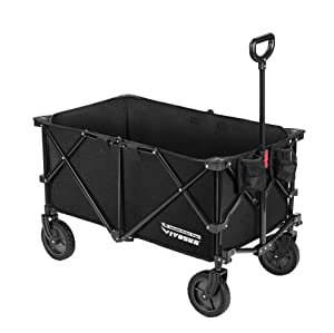 VIVOSUN Heavy Duty Collapsible Folding Wagon Utility Outdoor Camping Beach Cart with Universal Wheels & Adjustable Handle, Black