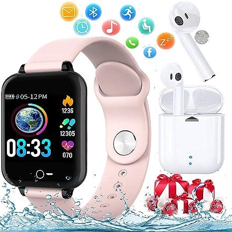 Smartwatch, Reloj Inteligente Mujer Hombre Pulsera de Actividad Inteligente Impermeable IP68 Pulsómetros Podómetro Monitor de para Sueño Calorías para ...