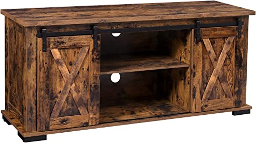 VASAGLE TV Cabinet with Sliding Barn Doors, TV Stand for 60-Inch TVs, Rustic Entertainment Center Console with Storage, Adjustable Shelf and Feet, for Living Room, Rustic Brown ULTV56BX