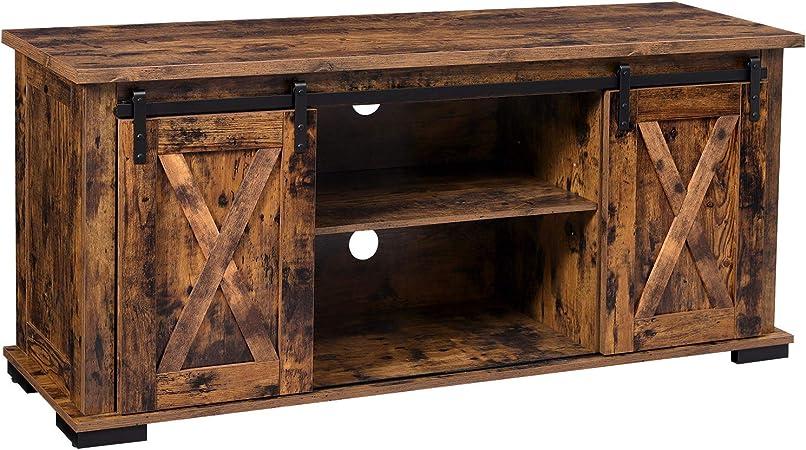 VASAGLE Mueble de TV con puertas correderas de granero, soporte de TV para televisores de 60