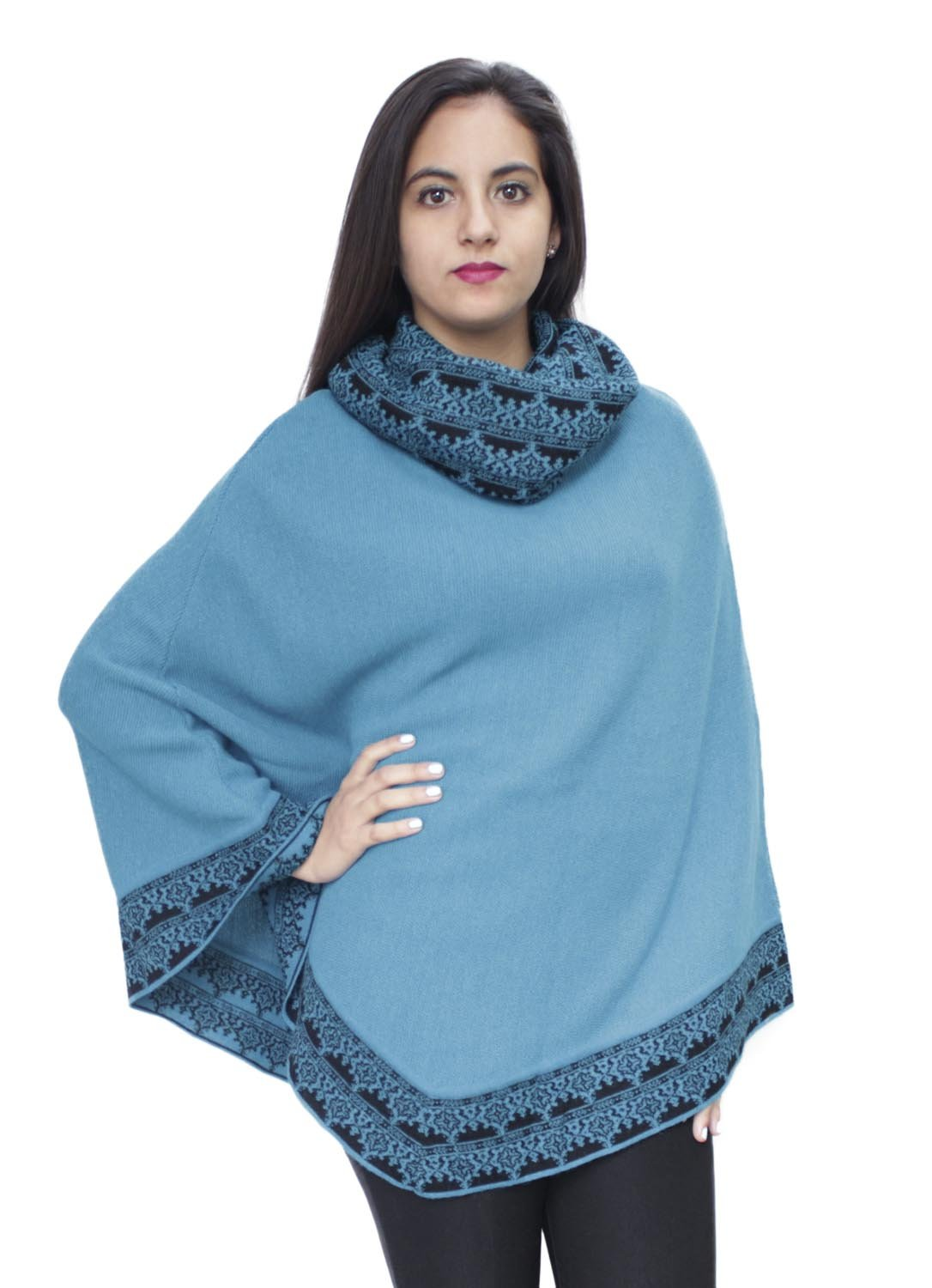 Women's Superfine 100% Baby Alpaca Wool Handmade Knit Premium Poncho One Size Extremely Soft And Warm (Turquoise)