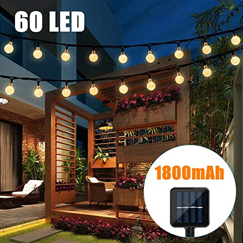 Binteng Solar Christmas Lights Outdoor 60 LED Solar Powered String Lights Waterproof Crystal Ball Decorative Fairy Lights for Garden Patio Yard Home Wedding Christmas Tree Parties, 36ft