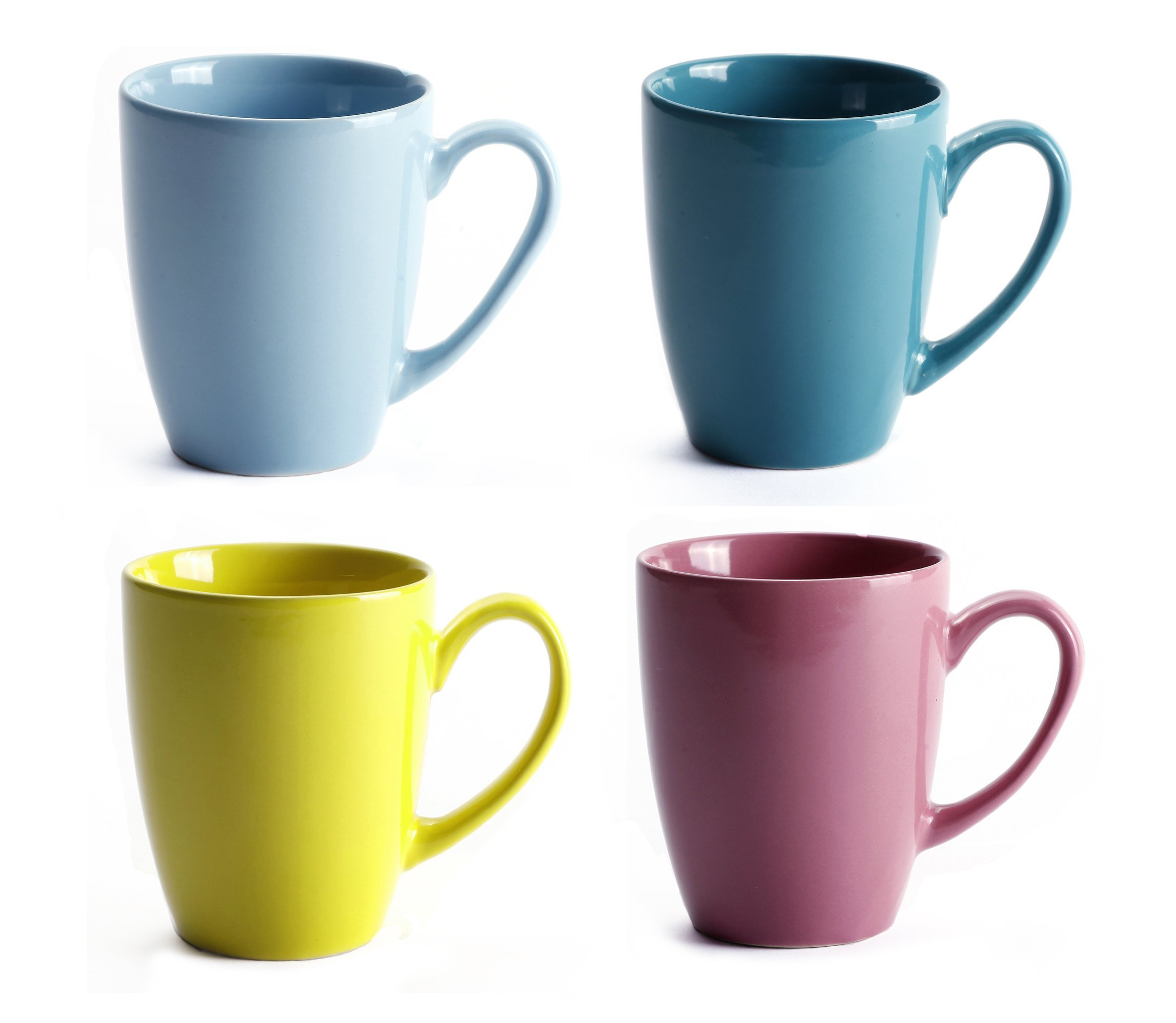 LEANDALE 12 OZ Ceramic Coffee Mug Tea Milk Cup Set of 4 Multi Solid Color