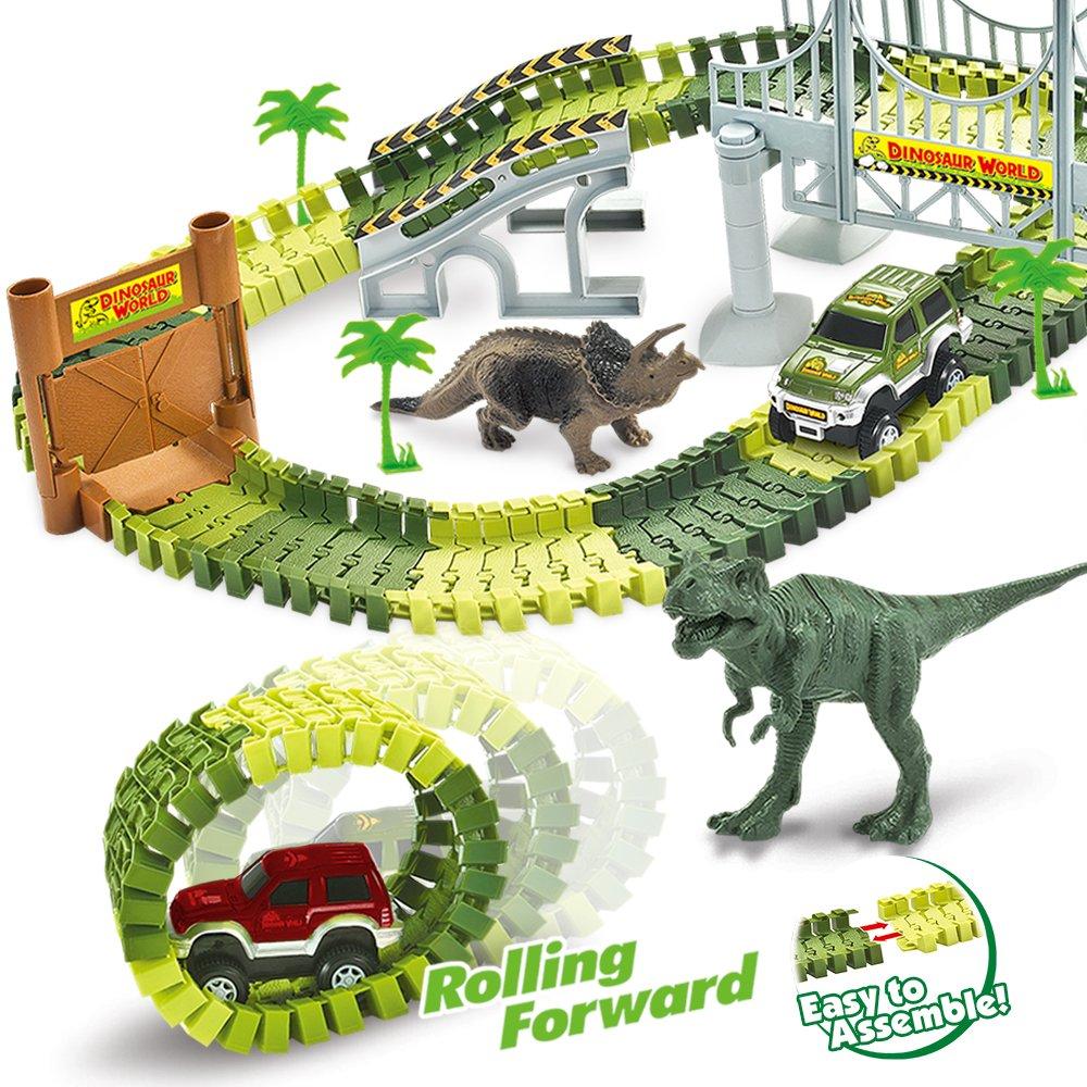 AUUGUU Dinosaur Race Car Track Train Toys Perfect Birthday 3 4 5 6