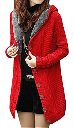 US&R Women's Stylish Long Sleeve Hooded Cardigan Fitted Trench ...