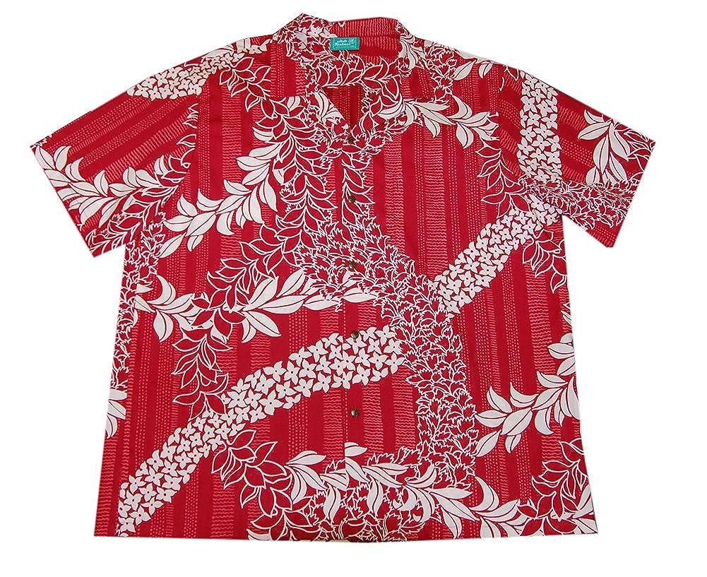 Jade Fashions Inc Mens Hawaiian Cotton Lei Day Red Aloha Shirt
