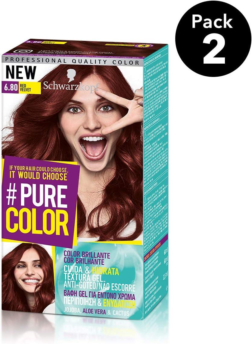 Pure Color de Schwarzkopf Tono 6.80 Red Velvet - 2 uds - Coloración Permamente