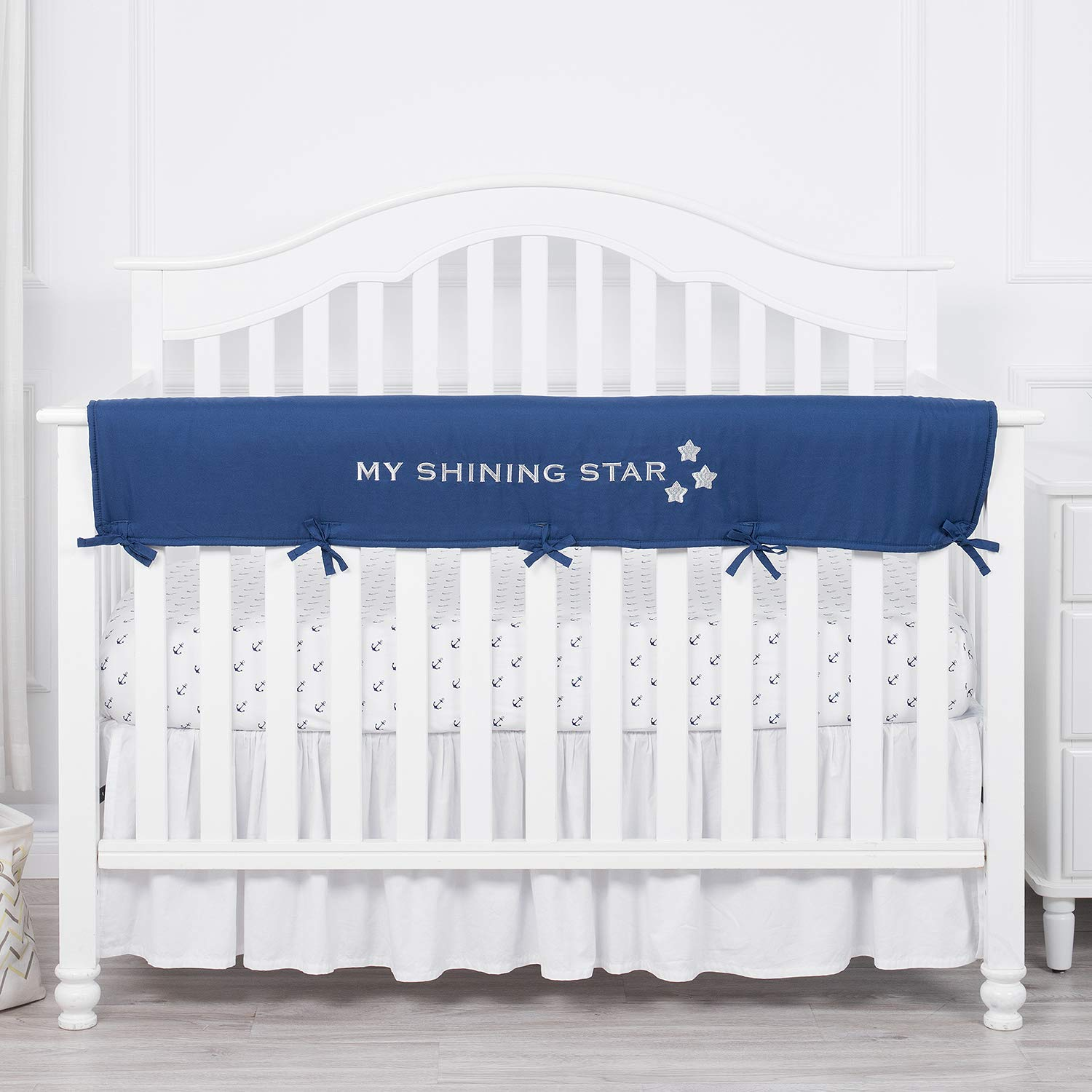 TILLYOU Personalized Padded Baby Crib Rail Cover Protector Safe Teething Guard Wrap for Long Front Rails 100% Silky Soft Microfiber Polyester - Embroidered and Reversible - Navy Blue, My Shining Star 71XktBN2BX8L