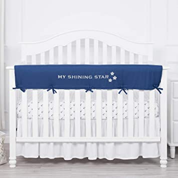 TILLYOU 2-Pack Padded Baby Crib Rail Cover Protector Safe Teething Guard Wrap for Thick Side Crib Rails Pale Gray//White 100/% Silky Soft Microfiber Polyester Reversible Measuring Up to 18 Around