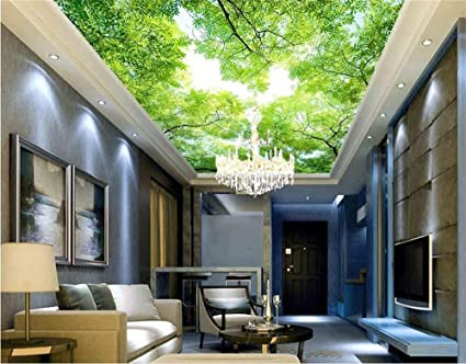Lwcx 3d Wallpaper Ceiling Custom Photo Wallpaper Hd Sky Green Tree