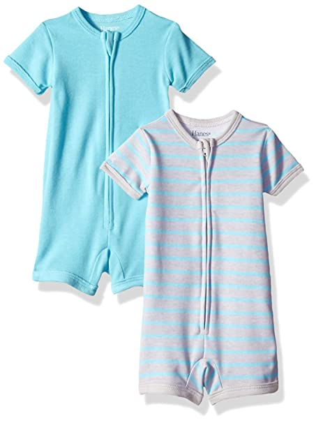 e412a891cdd2 Amazon.com  Hanes Ultimate Baby Zippin 2 Pack Rompers  Clothing