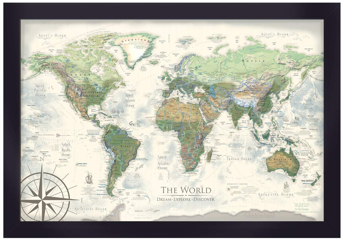 Push Pin World Map - Personalized The Nautilus World Travel Map - 24x18 inch framed map - Created by a Professional Geographer