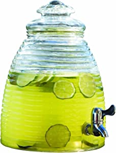 Circleware Beehive Huge Glass Beverage Drink Dispenser with Fruit Infuser, 3.5 gallon, Clear