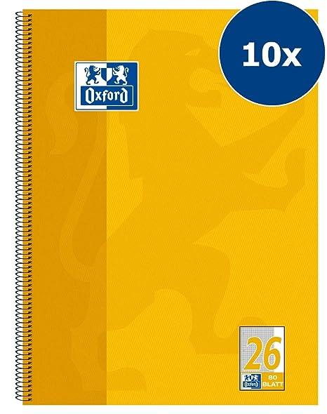Oxford College 100050356 - Cuaderno de espiral (10 unidades, cuadriculado, 80 hojas,