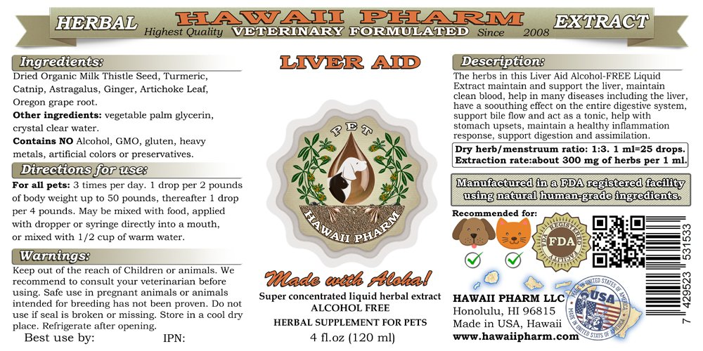 Liver Aid, VETERINARY Natural Alcohol-FREE Liquid Extract, Pet Herbal Supplement
