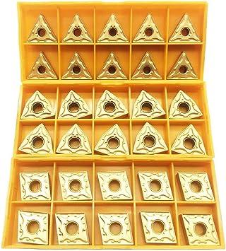 Kuinayouyi 30PCS CNMG 431 WNMG 431 TNMG 331 Tornio CNC Lama di Inserto nel Metallo Duro Indicizzabile per Tornio Portautensili di Tornitura per La Finitura Acciaio