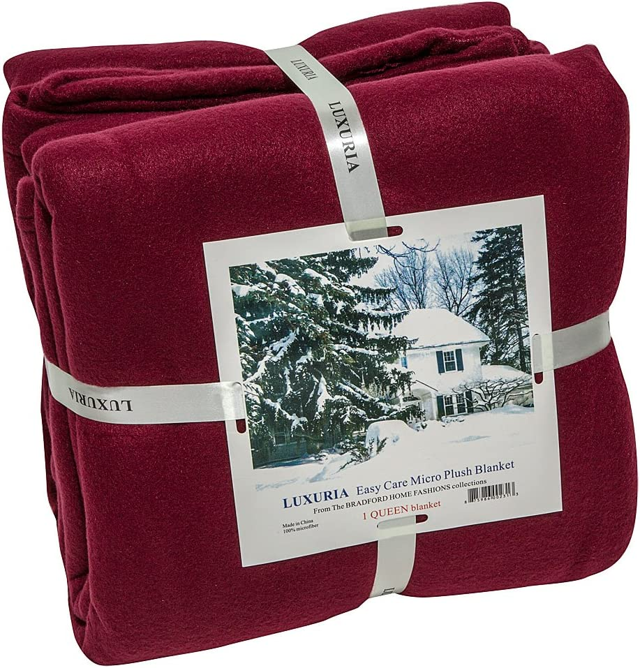 Italian Collection LUXURIA Micro Plush King Blanket, Burgundy