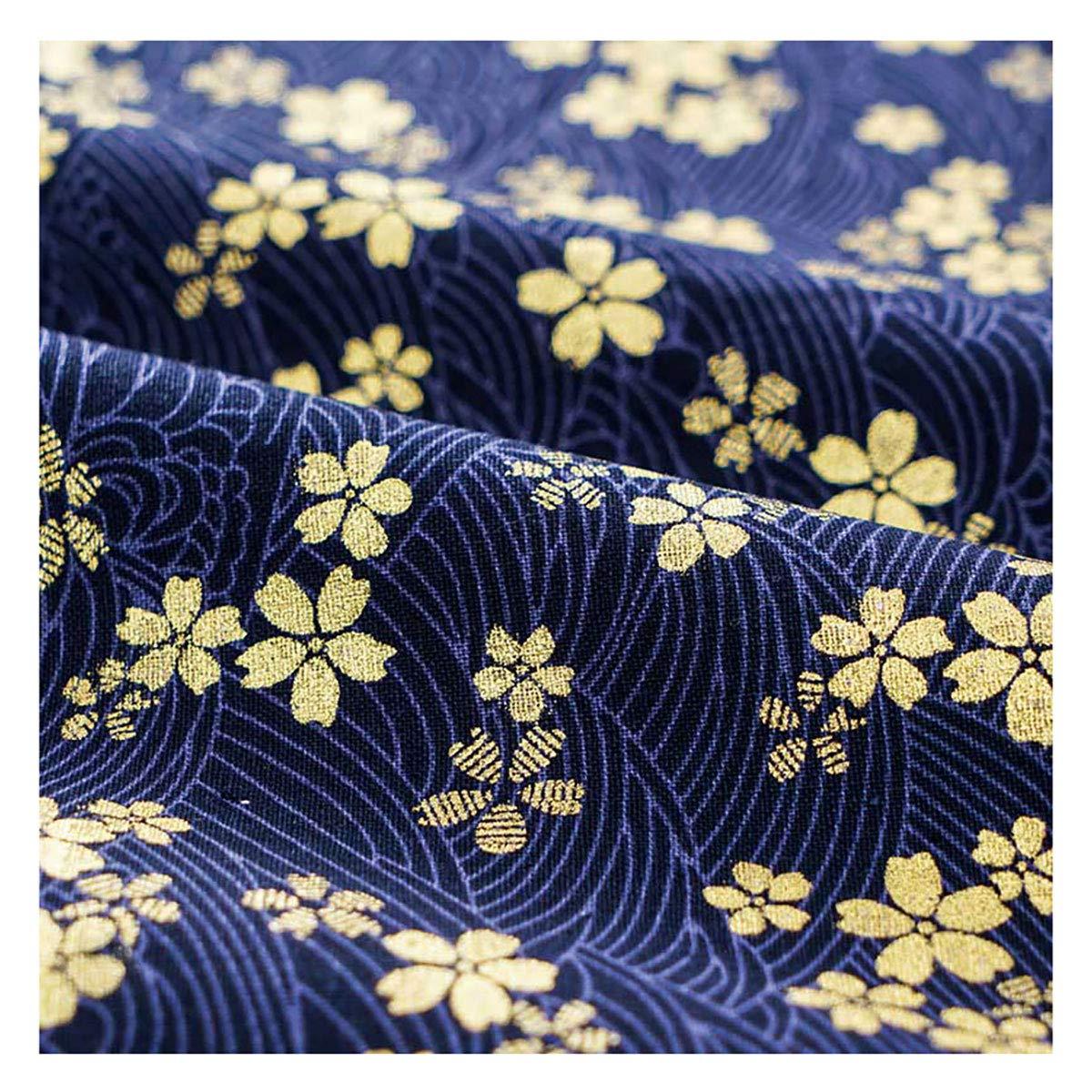Sakura Waves Cotton Sewing Fabric for Kimono Cheongsam and Bag DIY 17.7 x 17.7 Furoshiki Cloth Queenbox Japanese Printed Fabric