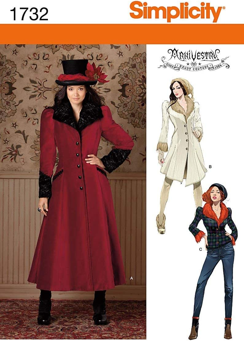 Simplicity US8482H5 Womens Costume Coats Sewing Pattern Sizes 14-22