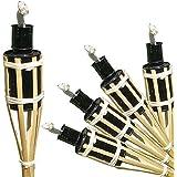 Timtina® - Set di 18 fiaccole ad olio da giardino in bambù, con protezione antispegnimento per stoppino