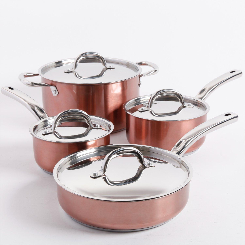 Oster Brookfield 8 Piece Cookware Set, Copper