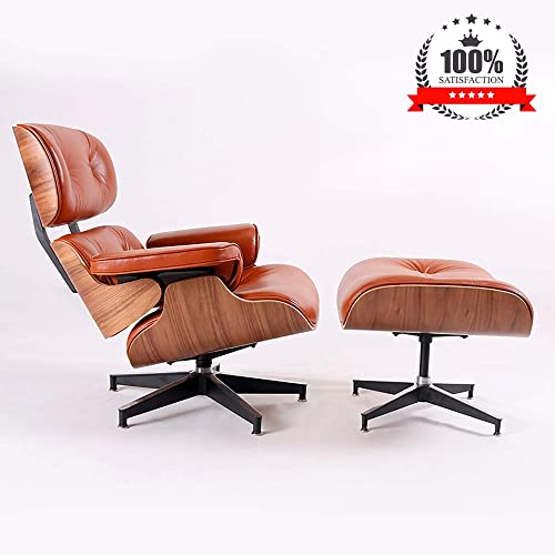 Mid Century Lounge Chair with Ottoman, Norcia Natural Leather Recliner Chair, Thick Cushion Swivel Eames Chair for Living Room Brown Walnut