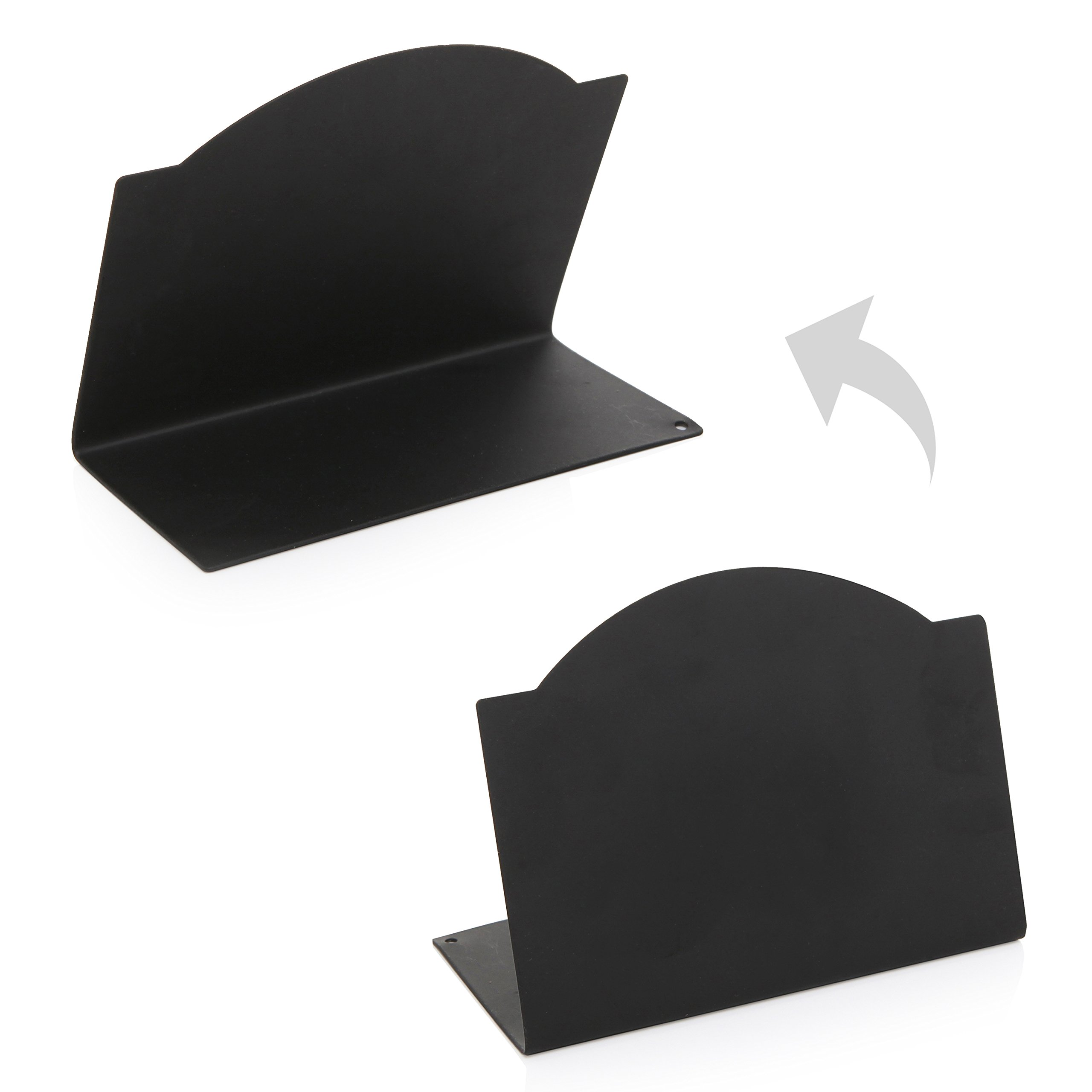 Freestanding Black Metal Erasable Chalkboard Place Card Signs, Small Memo Boards, (Set of 4) by MyGift (Image #3)