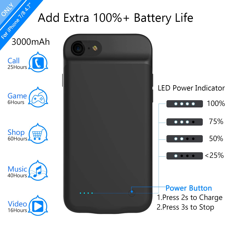 Amazon.com: iPhone 8 carcasa de batería/iPhone 7 carcasa de ...