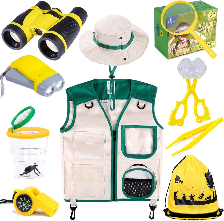 INNOCHEER Explorer Kit & Bug Catcher Kit for Kids Outdoor Exploration with Vest, Binocular, Magnifying Glass, Hand-Crank Flashlight, Whistle, Bug Collector, Bag for Boys Girls