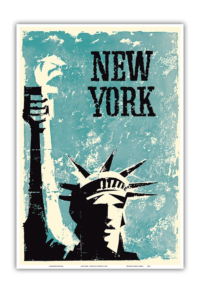 Master Art Print Vintage World Travel Poster c.1959 New York Statue of Liberty 12in x 18in