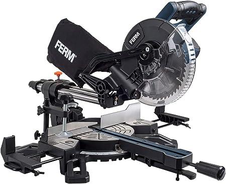 Ferm MSM1039 Ingletadora 1500W-210mm-Segura y Estable-con TCT T24 Hoja de Sierra, 2 Extensiones y una conexión para aspiradora, Dark