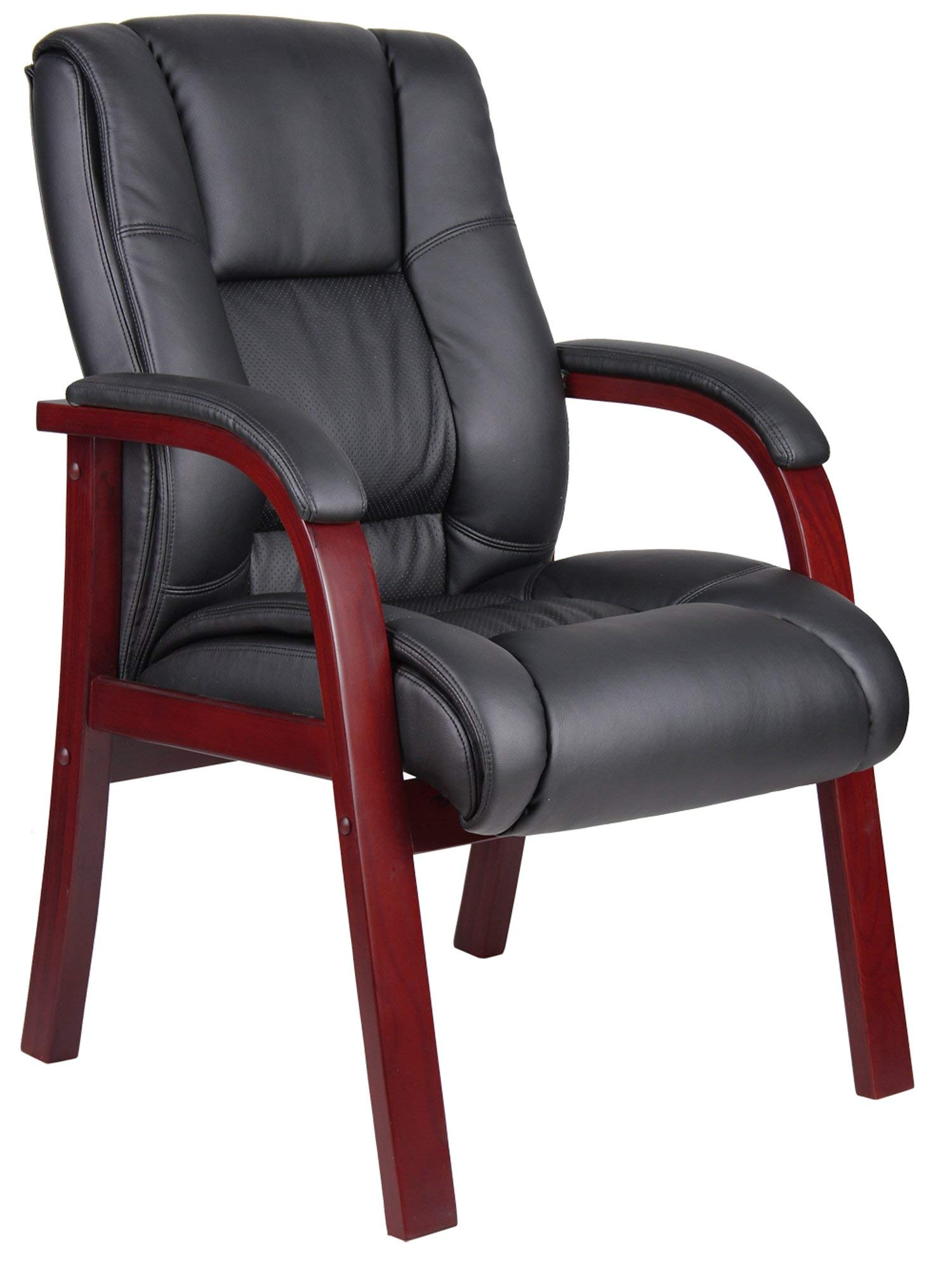 Boss Office Products B8999-M Mid Back Wood Finished Guest Chair (Renewed)