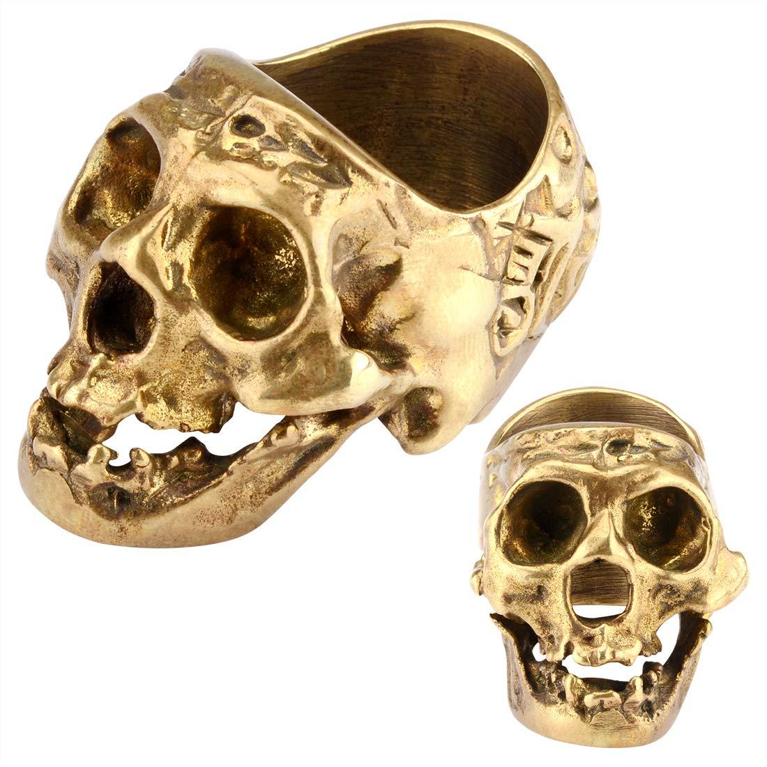 Skull Cigar Holder Stand, Skull Cigar Rings for Men, Smoking Accessories Cigar Tray Retro Skull Ring Cigar Accessories Home Desk Decoration (Gold)