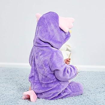 2-24 Meses Beb/é Mameluco Traje de Franela Disfraces Ni/ños Ropa de Una Pieza Ni/ñas Mono Pelele con Capucha Infantil Pijama Animado Animal para Oto/ño Invierno Happy Cherry