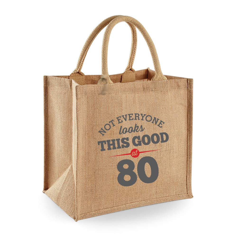 80th Birthday, Keepsake, Funny Gift, Gifts For Women, Novelty Gift, Ladies Gifts, Female Birthday Gift, Looking Good Gift, Ladies, Shopping Bag, Present, Tote Bag, Gift Idea (Grey Design) JUTE30X3080