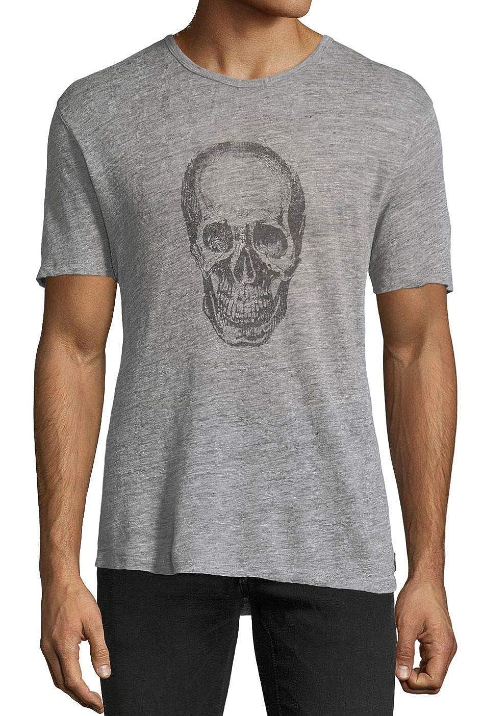 John Varvatos Men's Short Sleeve Skull Linen Crew Neck T-Shirt K3683U1B-BMY24B