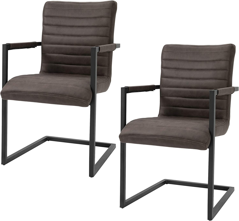 63x53x90cm Marroni homcom Set di 2 Sedie da Pranzo Moderne in Stile Industriale con Imbottitura e Braccioli