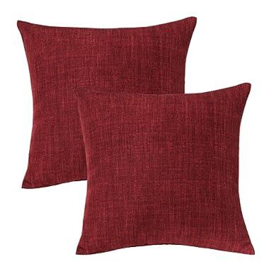 Jeanerlor Corduroy Velvet Solid Decorative 26 x26  Red Pillow Cover/Euro Sham Burgundy Cushion Sham Prime, Velvety and Durable Pillow Cases for Chair 2 Packs 65 x 65 cm