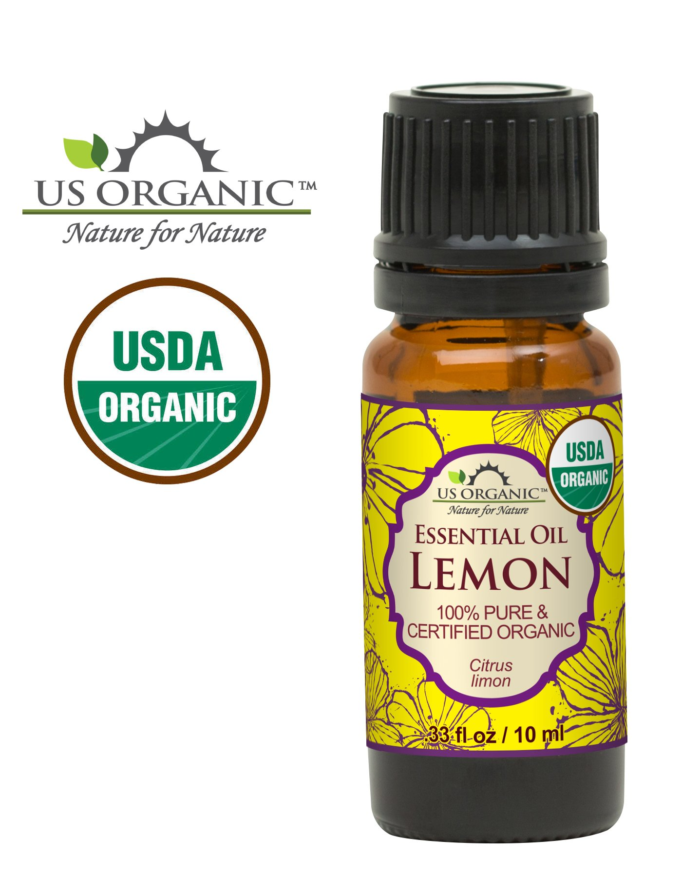 US Organic 100% Pure Lemon Essential Oil - USDA Certified Organic, Cold Pressed - W/ Euro droppers (More Size Variations Available) (10 ml / .33 fl oz)
