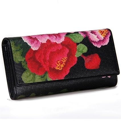 Xiaoqin Moda Mujeres Niñas Flor Impreso Monedero Monedero Bolso Teléfono Cremallera Bolsa Embragues Bolsa Cartera Tarjetero