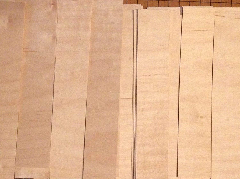 1//42 Thickness 180 Maple Fingerboard Wood Veneer Pieces 8 x 1.5 120 Straight Cut, 60 Cross Cut