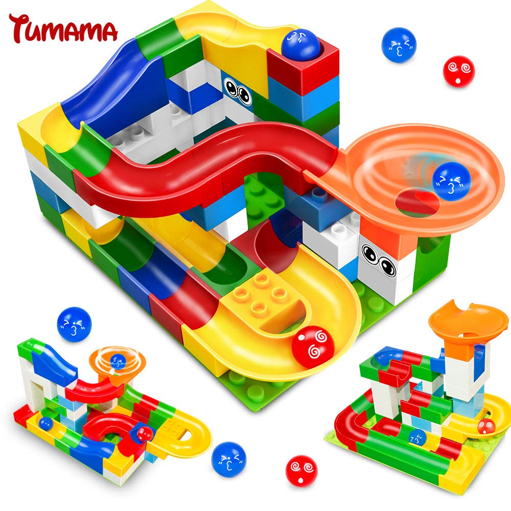 52pcs DIY Construction Marble Race Run Maze Balls Track Kids Children Gaming Building Blocks Toys Compatible with Duplo