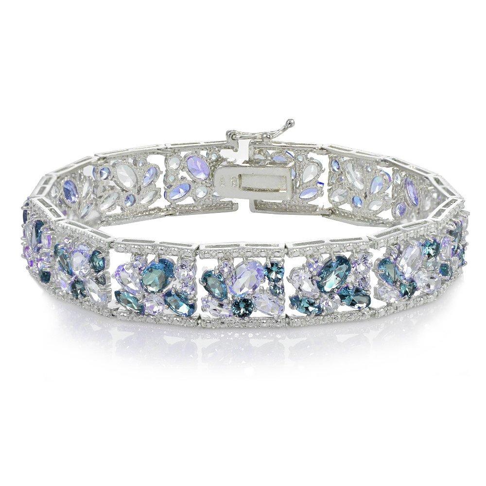 Sterling Silver Tanzanite and London Blue Topaz Flower Cluster Bracelet