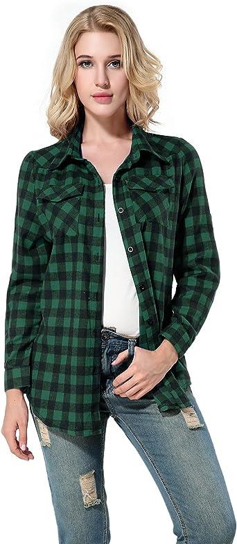Yidarton Mujer Camisas a Cuadros Blusa De Moda De Manga Larga Casual Camisetas (S, Verde): Amazon.es: Ropa y accesorios