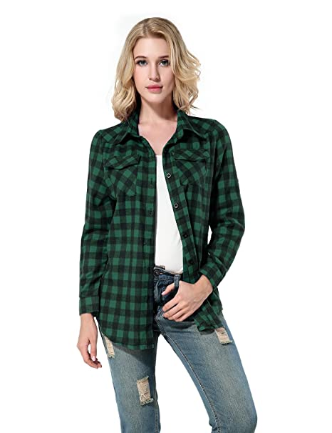 Yidarton Mujer Camisas a Cuadros Blusa De Moda De Manga Larga Casual Camisetas (S,