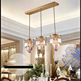 Pendant Lights Led Crystal Chandelier Gold 3 Head Home ( Size : 15*25.5cm Chassis 60cm )