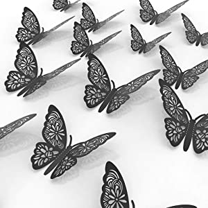 3D Butterfly Wall Art Decoration Stickers Glitter Black Removable Wall Decals Mural DIY for Kids Girl Boy Bedroom Living Room for Home and Room with 3 Sizes 24pcs Craft Decor