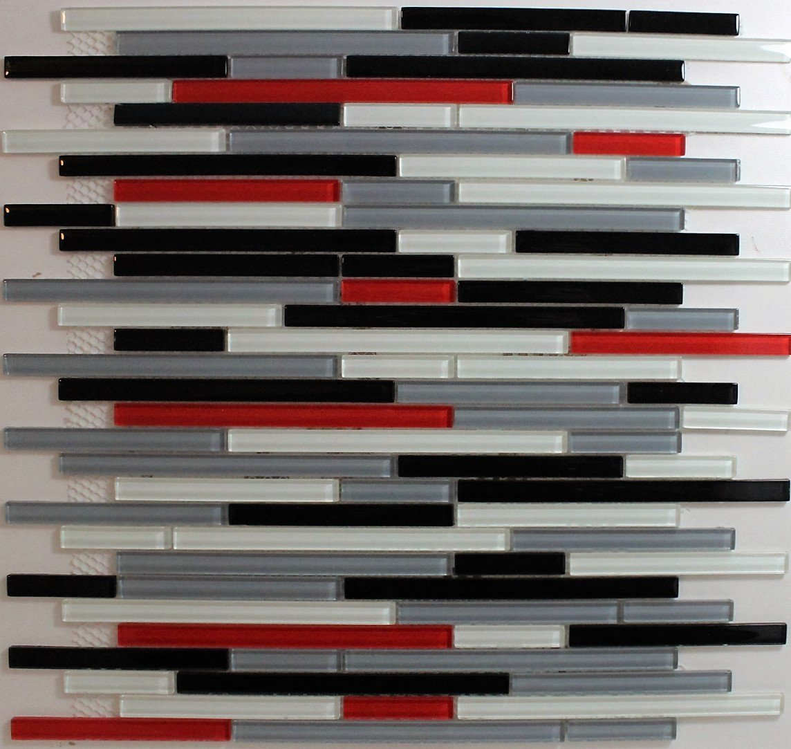 Glass mosaic backsplash tiles subway slate glass mix for Red and black kitchen backsplash